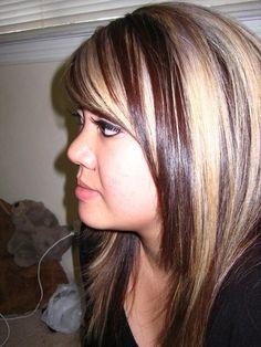 beauty hair colors dark hair shorts hair blond highlights chunky ...