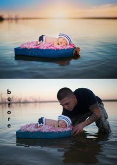 This is so cute. Dad was photoshopped out so baby was safe the whole time!