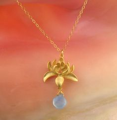 SALE / Blue LOTUSGold or Silver by MayaBelle on Etsy, $32.00