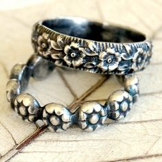 Pair of Sterling Silver Floral Pattern Stack Rings, by LovestruckSoul at Etsy