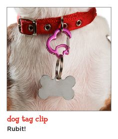 These carabiner dog tag clips are simple, stylish and secure. Plus, they make it easy to switch pet I.D. tags from collar to collar.