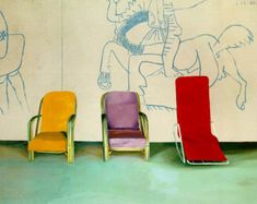 Three chairs with Picasso mural.  David Hockney, 1970.