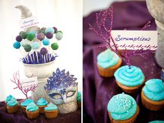Mardi Gras cupcakes and cake pops for a reception