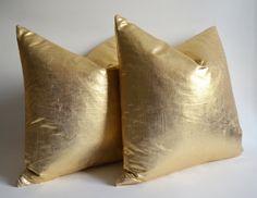 Sukanpillows / 1 Linen Pillow Cover Gold - gold pillow - gold throw pillows - gold euro shams - gold bolster -  gold lumbar pillow - 14x14