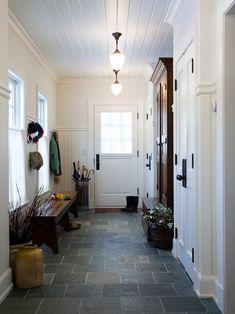 beadboard on walls and ceiling, slate tile, schoolhouse lights