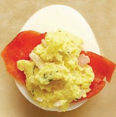 A little dab of wasabi paste is all you need, so don't overdo it! Enjoy Salmon-Wasabi Deviled Eggs with cocktails or as part of a lazy Sunday brunch.