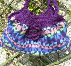 Felted bag from recycled sweater with crochet edges by PollyKrafts, $40.00