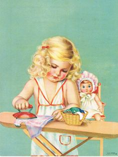 """Little Girl Ironing her Doll's Clothes.....great practice for """"Helping Mother"""".  Beautiful Illustration"""