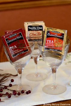 Tea Bags in Wine Glasses for a Christmas Tea Party! #AmericasTea