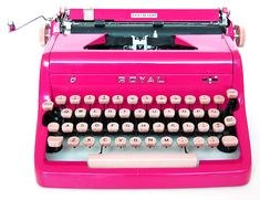 pink typewrit, stuff, color, inspir, vintag typewrit, hot pink office, pretti, thing pink, typewriters
