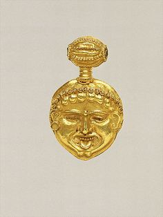 Gold pendant in the form of a gorgoneion (Gorgon's face) Period: Classical Date: ca. 450 B.C. Culture: Greek, Cypriot Medium: Gold