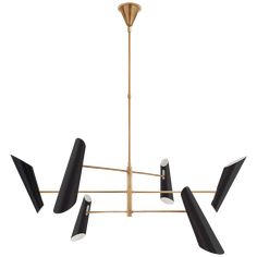 Franca Large Pivoting Chandelier in Hand-Rubbed Antique Brass with White Shades