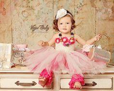 Newborn - Size 9 Elegant White with a Splash of Fuschia Flower Girl Tutu Dress