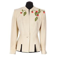 """1940 Myrna Loy """"Nora Charles"""" beige jacket designed by Irene from The Thin Man Goes Home."""