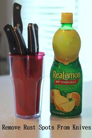 The Colorless Cottage: Remove rust spots from knives w lemon juice