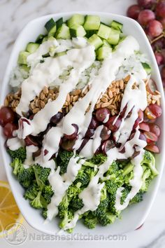 Broccoli Grape and Cucumber Salad