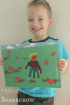 Fall Handprint Scarecrow Craft for Kids and Parents Together
