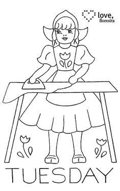 Little Dutch girl ironing