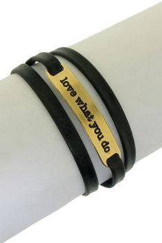 """Love What You Do"" Leather Wrap Bracelet"