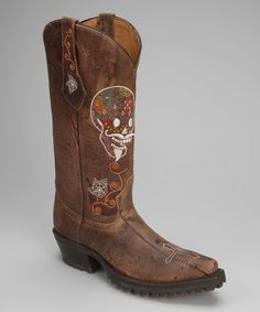 Take a look at this Brown Leather T-Toe Skull Distressed Western Boot - Women by Johnny Ringo Boots on #zulily today!