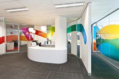 Powerful use of window graphics in a location with cool event and conference application.