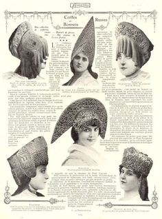 Russian folk headresses as described in a French fashion mag, early 20th century.