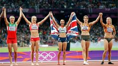 Jessica Ennis celebrates winning gold in the Women's Heptathlon with some of her fellow heptathletes