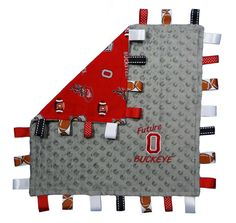 Ohio State University Future Buckeye tag blanket. Soft dotted grey minky with true licensed Buckeye cotton fabric.
