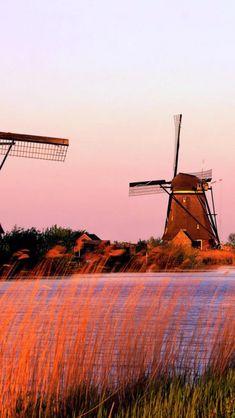 River, Windmills, Netherlands, Landscape