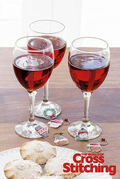 Try Something New – wine glass charms on plastic canvas. For a fun and colourful way to make your parties and dinners go with a swing, these glass charms are a must-stitch! See the quick-stitch motifs only in the new issue 221 of The World of Cross Stitching magazine