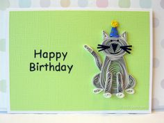 Paper Quilled Kitty Cat Birthday Card on Green by QuillyNilly, $7.50