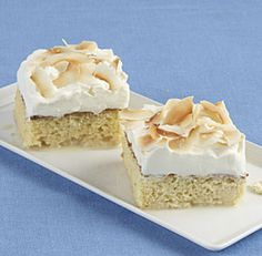 "Toasted Coconut Tres Leches Cake: In this twist on the classic Mexican tres leches cake, one of the three ""milks"" is rich, nutty coconut milk. Rum and flaked coconut in the topping amp up the tropical flavor even further. Via FineCooking"