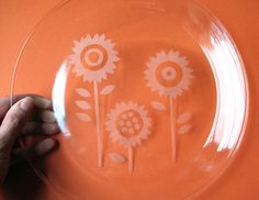 Glass etched plate by