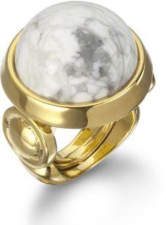 Kara Ross 14k White Jasper Cabochon Ring