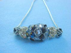 Sapphire blue and silver handmade beaded by LittleGemsandMore, $35.00