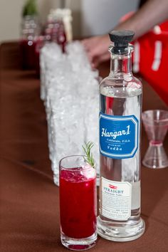 """""""Beetlejuice"""" way A farm-to-table Bloody Mary interpretation by Ian Adams  1½ oz Hangar 1 Straight Vodka 1½ oz fresh tomato juice ¾ oz fresh beet juice ¼ oz sesame oil ¼ oz red wine vinegar ½ tsp salt ½ tsp pepper 1 tsp creme fraiche  Combine vodka, tomato juice, beet juice, sesame oil, red wine vinegar, salt and pepper in a shaker filled with ice. Shake well and pour into a tall glass filled with ice. Garnish with crème fraiche."""