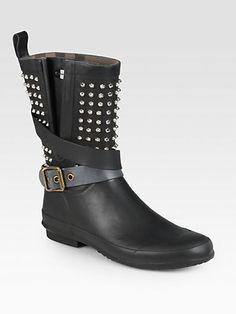 Burberry Holloway Studded Rubber Rain Boots
