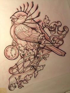 line drawings, bird tattoos, tattoo sketches, clock, birdtattoo