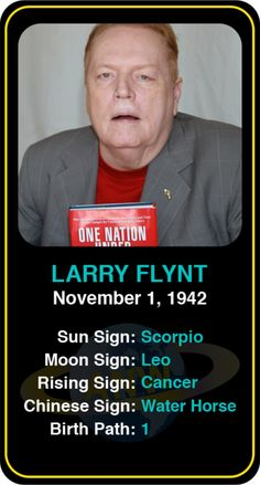 Celeb #Scorpio birthdays: Larry Flynt's astrology info! Sign up here to see more: https://www.astroconnects.com/galleries/celeb-birthday-gallery/scorpio?start=30  #astrology #horoscope #zodiac #birthchart #natalchart #larryflynt