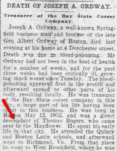 "Obituary for Joseph A. Ordway, published in the Springfield Republican newspaper (Springfield, Massachusetts), 6 May 1904. Read more on the GenealogyBank blog: ""Mayflower Pilgrim Thomas Rogers: Are You a Descendant?"" http://blog.genealogybank.com/mayflower-pilgrim-thomas-rogers-are-you-a-descendant.html"