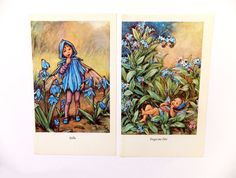 Set of 2 Flower Fairies Picture, Vintage Bookplates, Scilla and Forget me Not Fairies, Blue flowers, nursery decor, Cicely Mary Barker on Etsy, £8.00