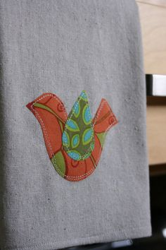 Bird appliqued tea or dish towel