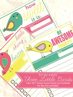 Free Printable: 'Three Little Birds' to do lists