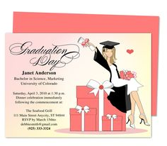 Super cute Luxury Graduation Party Announcement or Party Invitations Templates. Printable, DIY template editable with Word, Publisher, Apple iWork Pages, OpenOffice. Available with hair color, black, blonde, brunette (shown), red.