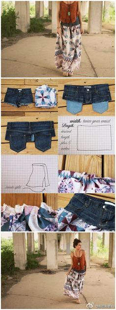jean shorts, craft, long skirts, old shirts, jean skirts