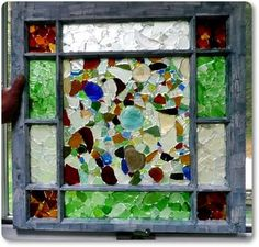 Mona's Sea Glass Window Panes: ~ sea glass project submitted by Mona in Maine   In her contribution My Sea Glass Window, Mona described replacing the glass with Plexiglas to avoid
