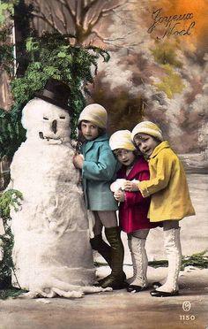 Vintage Postcard - Kids w/Snowman