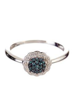 14K White Gold Teal & White Diamond Ring