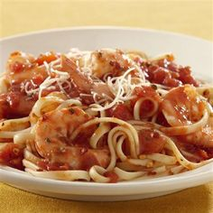 Shrimp Pasta with Spicy Tomato Sauce: This low-calorie meal is perfect for all occasions and packed with flavor. Use jumbo shrimp if you want to make it impressive!