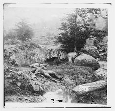 "Gettysburg, Pa. Dead Confederate soldiers in the ""slaughter pen"" at the foot of Little Round Top - July 1663"